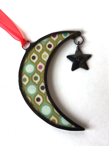 Small Gold-Green Moon Ornament