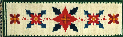 Christmas Flowers table runner, Polish kilim, hand woven