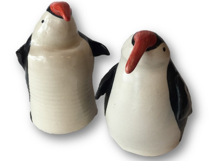 Two ceramic penguins - Clay Rabbit Pottery