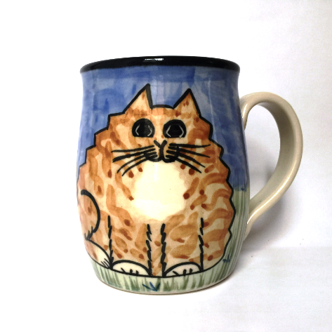 Orange Cat - hand painted ceramic mug
