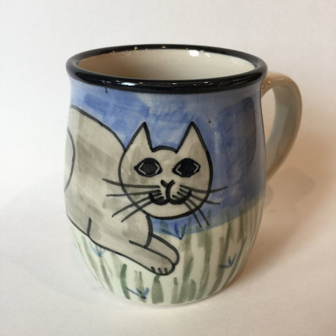 British Short Hair Cat Grey - Hand Painted Ceramic Coffee Mug