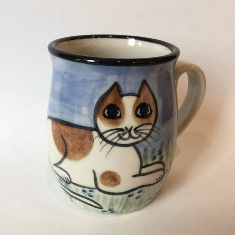 British Short Hair Cat White & Tan - Hand Painted Ceramic Coffee Mug