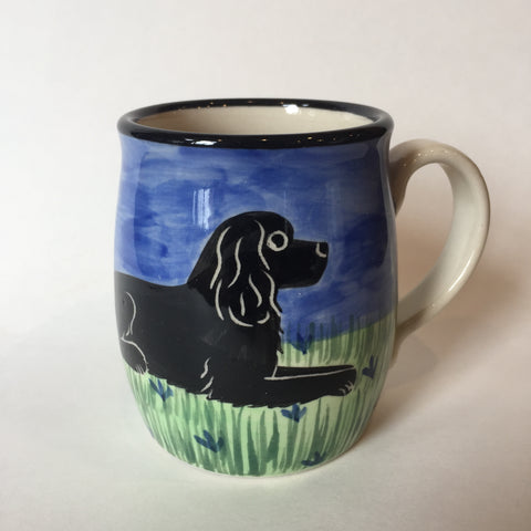 Cocker Spaniel Black - Hand Painted Ceramic Coffee Mug