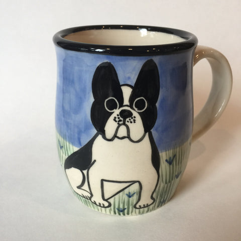 French Bulldog Black & White - Hand Painted Ceramic Coffee Mug
