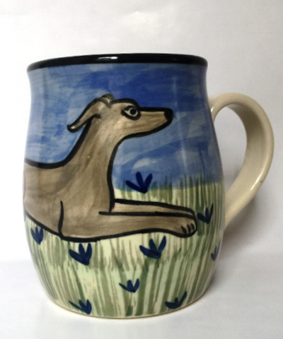 Greyhound - hand painted ceramic mug