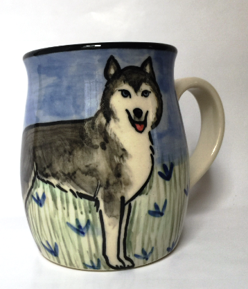 Huskie - hand painted ceramic mug