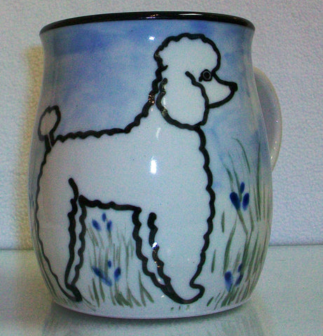 Poodle White - Hand Painted Ceramic Coffee Mug