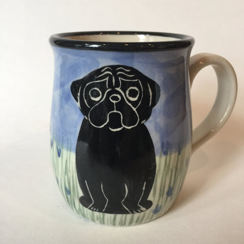 Pug Black - Hand Painted Ceramic Coffee Mug