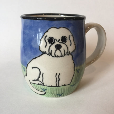 Shih Tzu Puppy White - Hand Painted Ceramic Coffee Mug