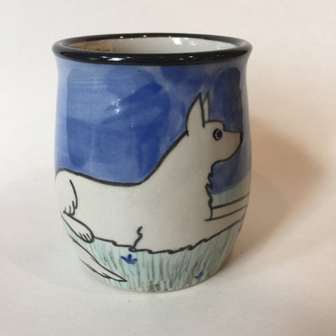 White Shepherd - Hand Painted Ceramic Coffee Mug