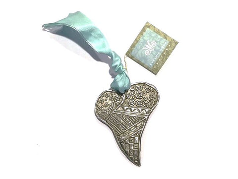 Folk Heart - Decorative Pewter Heart on Ribbon from Cynthia Webb