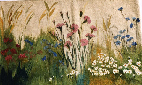 Field Flowers - Hand Woven Wall Hanging Tapestry by Anna Brokowska