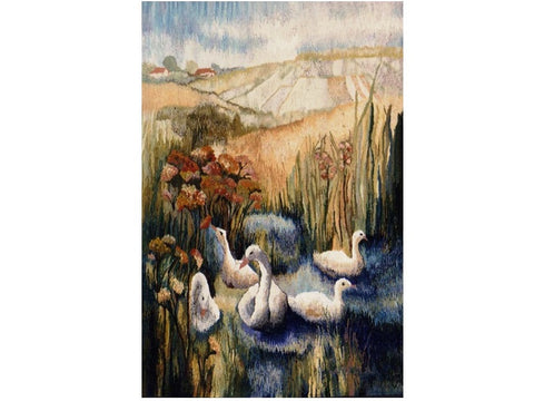 Swans - Hand Woven Wall Hanging Tapestry by Anna Brokowska