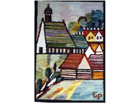 European Village - Hand Woven Wall Hanging Tapestry by Piotr Grabowski