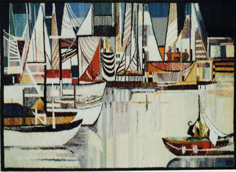 Harbor - Hand Woven  Tapestry by Piotr Grabowski