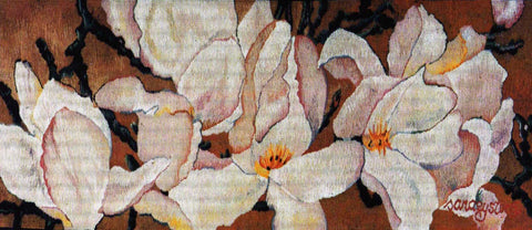 Dancing Magnolias - Hand Woven Wall Hanging Tapestry by Sara Eyestone