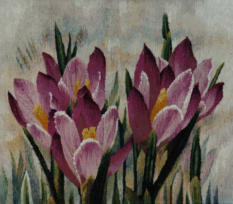 Crocuses - Hand Woven  Tapestry by Jozef Jakubczyk