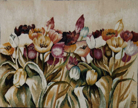 Tulips - Hand Woven  Tapestry by Jozef Jakubczyk