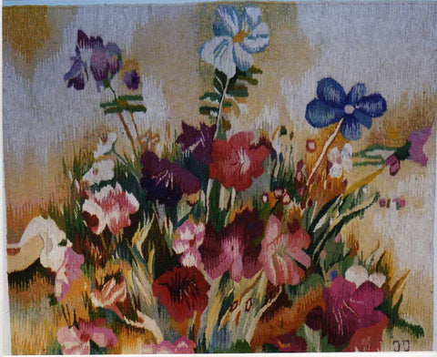 Floral Arrangement - Hand Woven  Tapestry by Jozef Jakubczyk