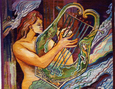 Apollo with Lute -  Hand Woven Wall Hanging Tapestry by Stanislaw Wyspianski