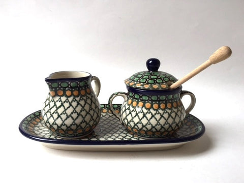 Polish Pottery sugar and creamer set