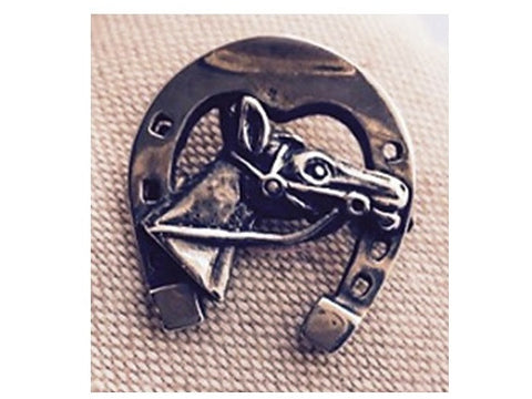 Silver Pin - Horse Head and Horse Shoe