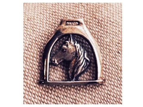 Silver Pin - Horse Head in a Stirrup