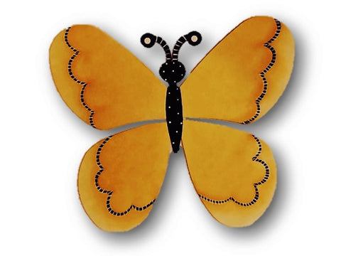 Carol Roeda - large yellow butterfly, hand painted metal on magnets