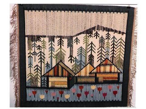 Log Cabins - Hand Woven Wall Hanging