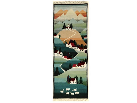 On the Hill - Narrow Rug or Wall Hanging
