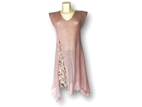 Sleeveless Knitted Tunic with Felted Wool Application - Lilac