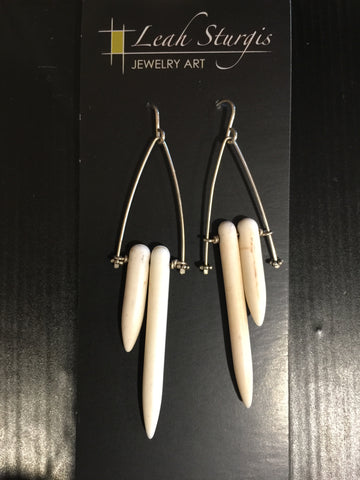 Double White Howlite Earrings