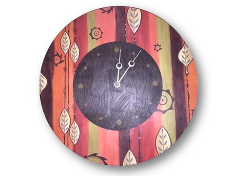 Round Wall Clock in Leaf Stripe Red