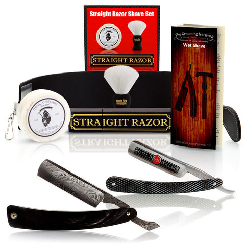 Buffalo Horn Damascus Straight Razor and Gold Dollar Luxury Shave Set