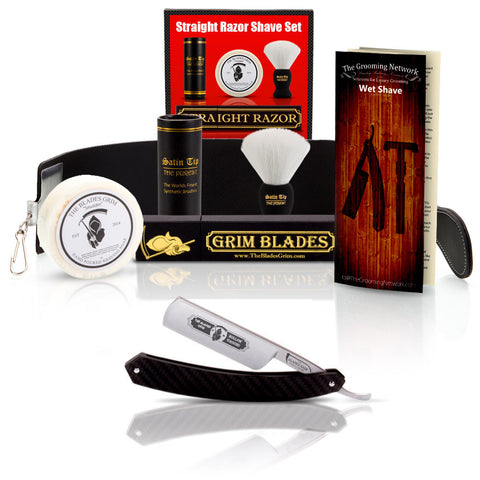 Grim Blades Round Tip Carbon Fiber Straight Razor with Luxury Kit