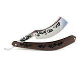 "Alex Jacques 8/8"" Curved Custom Straight Razor Brown hand carved G10 scales"