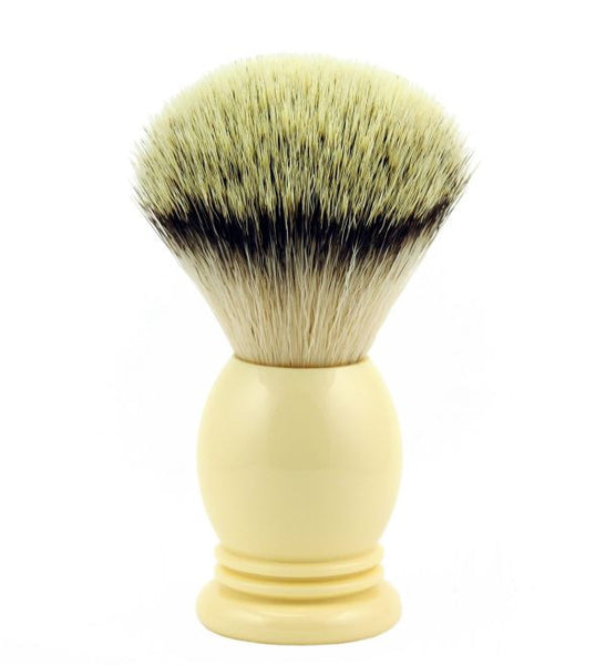 Vintage Blades Brand Synthetic, Imitation Badger Shaving Brush in Faux Ivory - 24mm