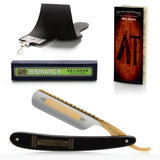 "Dovo Ebony ""Bismarck"", 6/8"" Carbon Steel Straight Razor  - Professionally Honed"