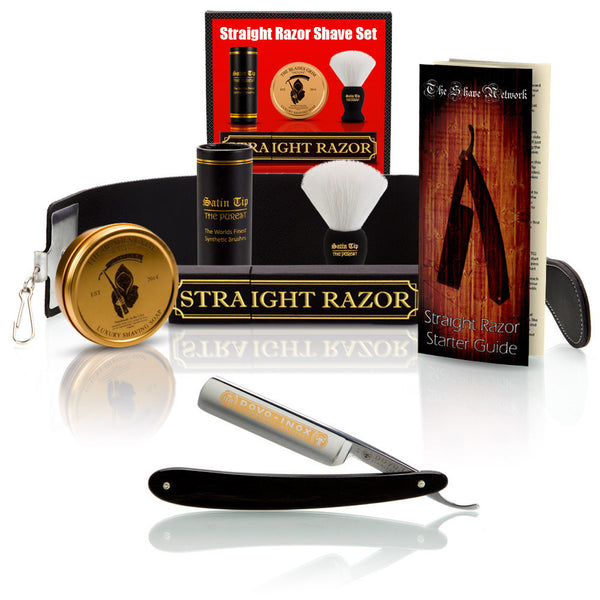 "Dovo Ebony 5/8"" Straight Razor with Luxury Shave Set"