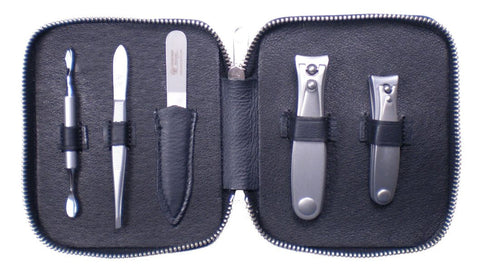 Dovo 5-Piece Manicure Set in Black Napa Leather