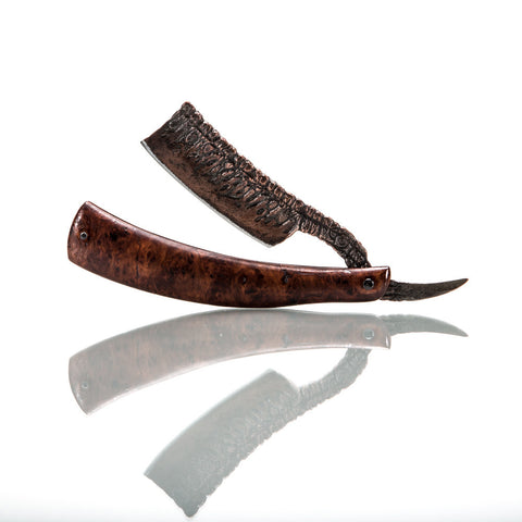 Dylan Farnham Custom Straight Razor - Stabilized Redwood Burl Wood Scales