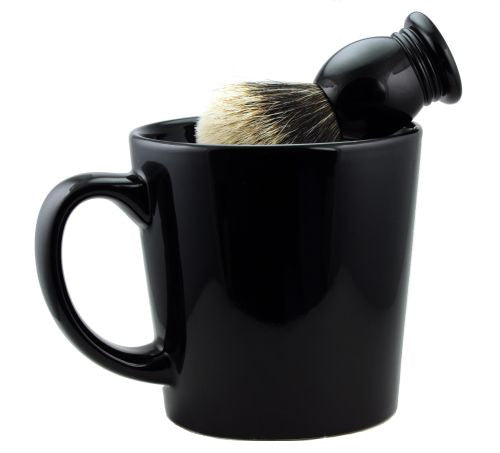 Black Shaving Mug & Brush Set