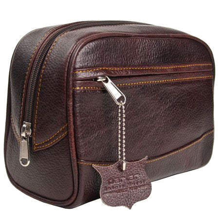 Deluxe Leather Shaving Bag - Large