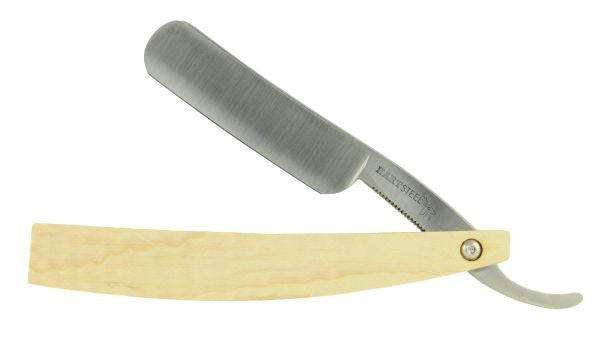 "Hart Steel 6/8"" Carbon Steel Straight Razor, Round Point, Satin Finished & Jimped - Maple - Professionally Honed"