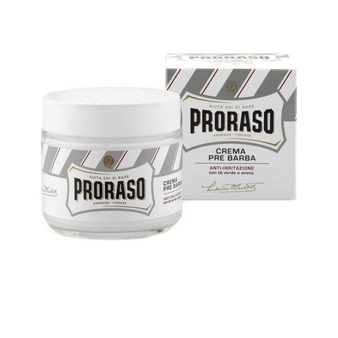 "Proraso ""White"" Pre/Post Shave Cream - Sensitive Skin Formula with Green Tea and Oat - 100 ml/3.6 oz Glass Jar"