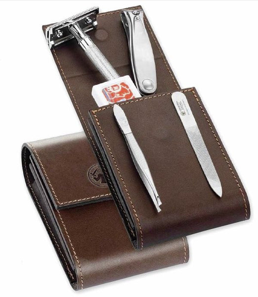 Dovo Deluxe 3-Piece Manicure Set with Merkur 23C Safety Razor in Brown Cowhide