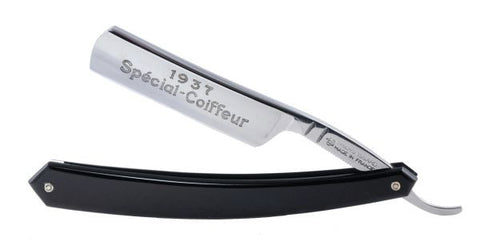 "Thiers-Issard ""Special Coiffeur"", 5/8"" Carbon Steel Straight Razor - Black - Professionally Honed"