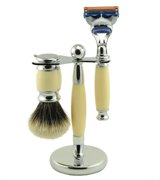 Vintage Blades Brand 3-Piece Razor Set for Fusion Cartridges - Ivory