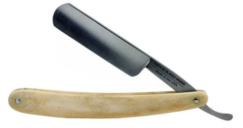 "Vintage Blades Brand 6/8"" Carbon Steel Straight Razor, Round Point, Satin Finished - Genuine Bone - Professionally Honed"