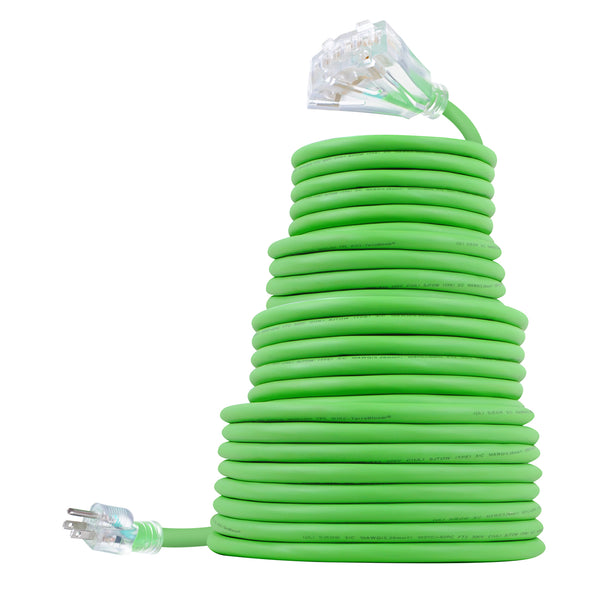 TerraBloom Outdoor Extension Cord 50 FT Rubber 10/3 SJEOW Triple Outlet Heavy Duty Green Wire Flexible TPE Cold Weather Jacket Lighted End UL Listed